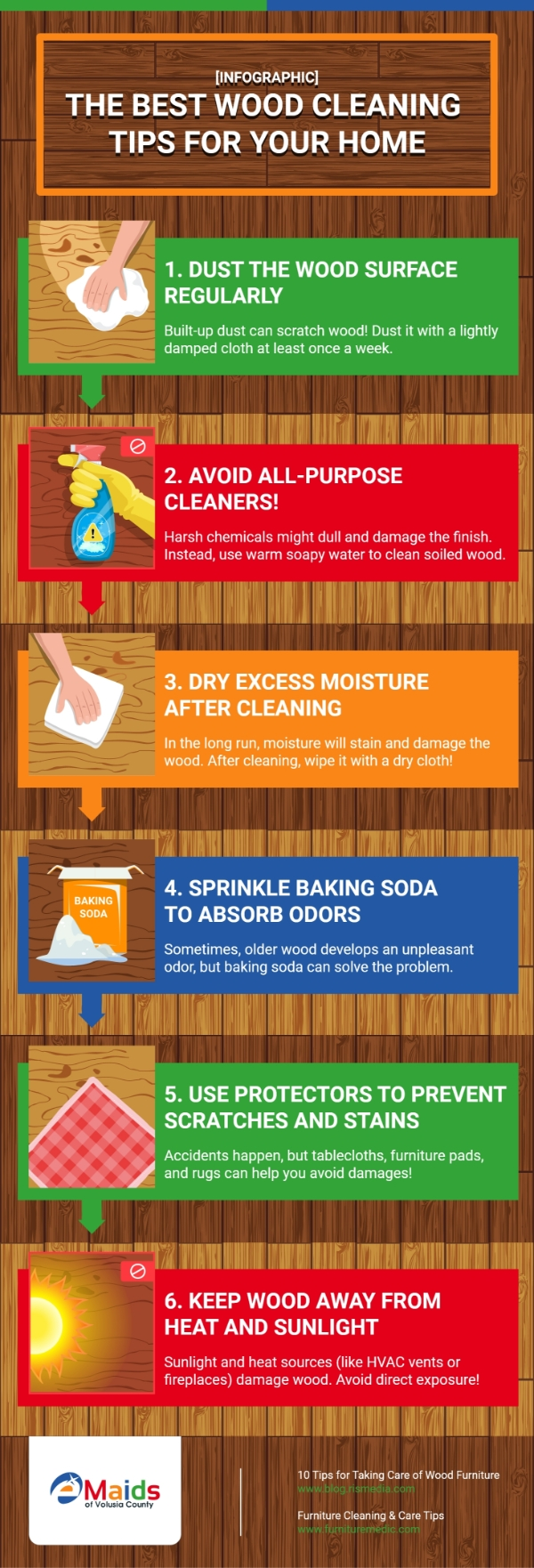 eMaids of Volusia County - [Infographic] The Best Wood Cleaning Tips For Your Home